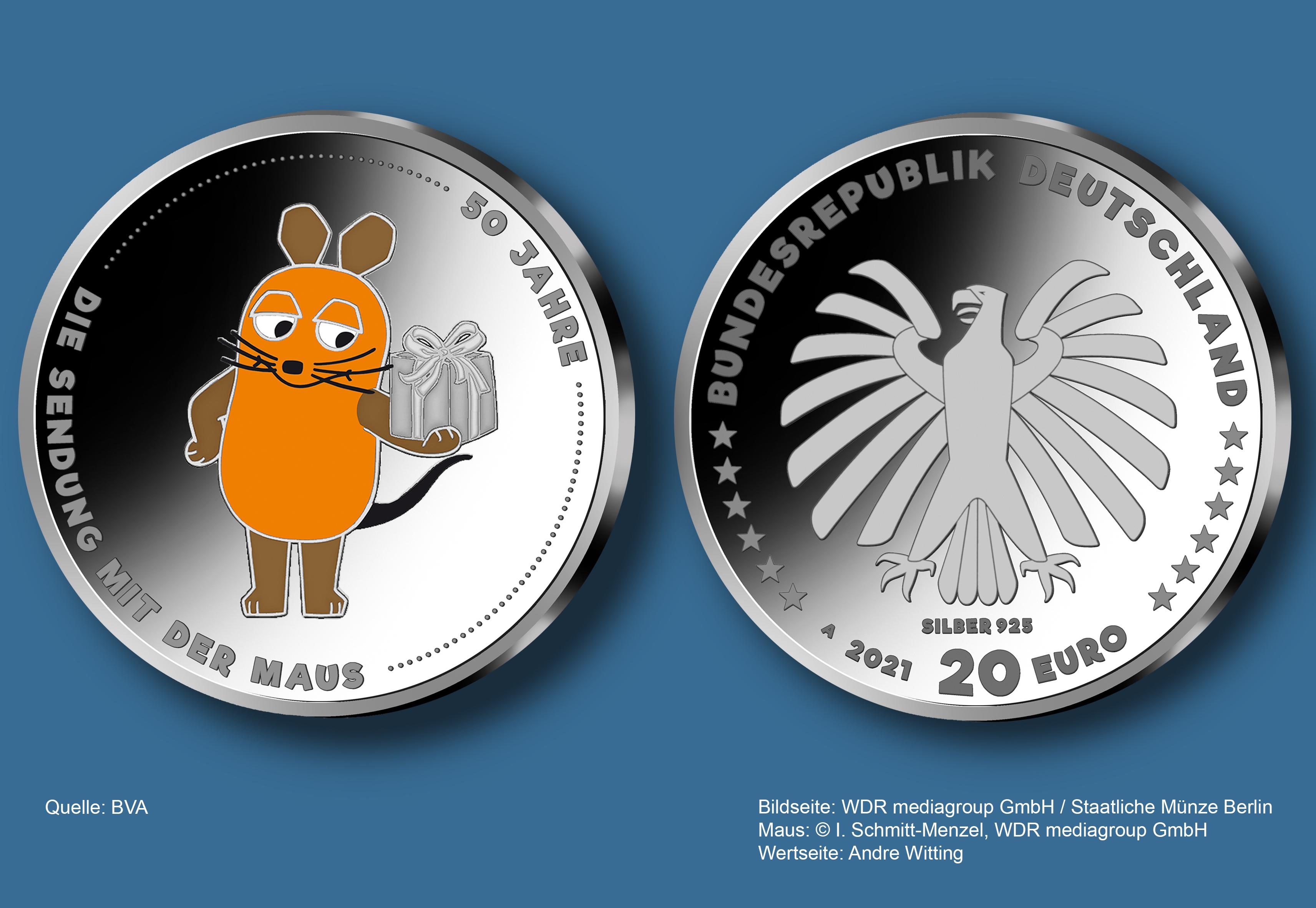 """Bundesfinanzministerium   20 Euro Sammlermünze """"20 Jahre Die ..."""